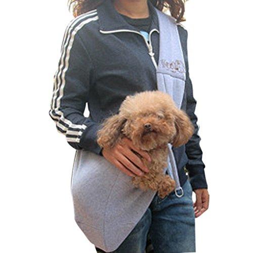 [Liebe in die Arme] Einfarbige Hundetasche Single-Schulter Haustier Rucksack aus Baumwolle für Hund und Katze (Grau)