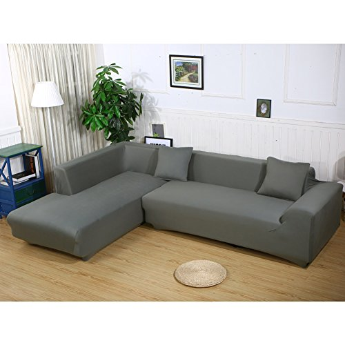 Premium-Qualitätsbezüge für Sofas in L-Form von HTDirect, 2Stück Polyester-Sofabezüge und 2 Stück Polyester-Kissenbezüge dunkelgrau