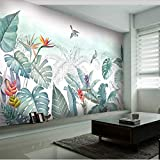 BZDHWWH Piccole Piante Tropicali Fresche Dipinte A Mano Nordiche Fiori E Uccelli Murales Di Sfondo Personalizzato Grande Murale Carta Da Parati,450 Cm×280 Cm