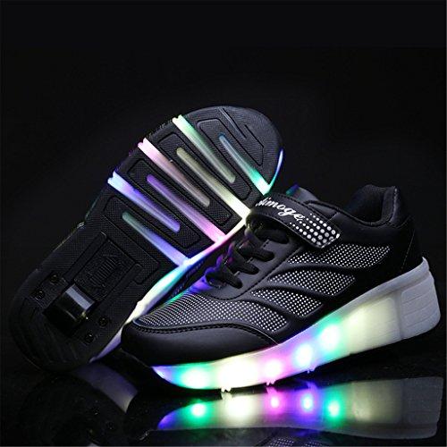 Wheelies Schuhe mit Rollen Rädern Skateboard Blinkschuhe Outdoor Sport Kinderschuhe Led Licht Turnschuhe Leuchtend Sneaker Mädchen Jungen Schwarz 3