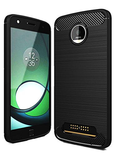 Moto Z Play Back Cover Case , Golden Sand™ Rugged Armor Case for Motorola Moto Z Play Mobile Phone [5.5 inch] - Ultimate Protection from Drops in Slim profile, Durable, Anti Scratch, Perfect Fit, Air Cushion Anti Shock Technology, Flexible TPU Phone Back Cover for Moto Z Play [Color - Metallic Black] with 12 Month Warranty