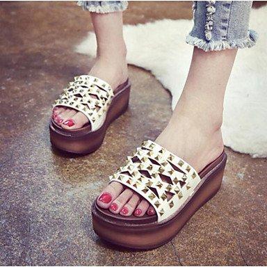 RUGAI-UE Estate Moda Donna Sandali Casual PU scarpe tacchi Comfort Zipper,viola,noi6.5-7 / EU37 / UK4,5-5 / CN37 White