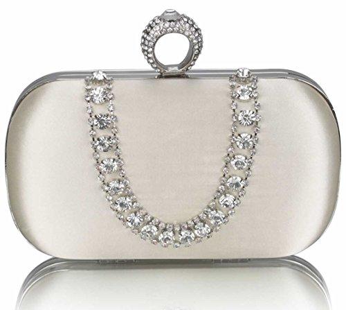LeahWard® Damen Hard Case Diamante Kupplung Bridal Abend Geldbörse Taschen Hochzeit Ausgehabend Abschlussball nett Groß Handtaschen Ivory Unterarmtasche