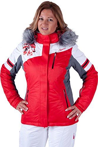 Almwerk Damen Skijacke und Skihose 2.tlg in weiss/rot, Größe Damen:40