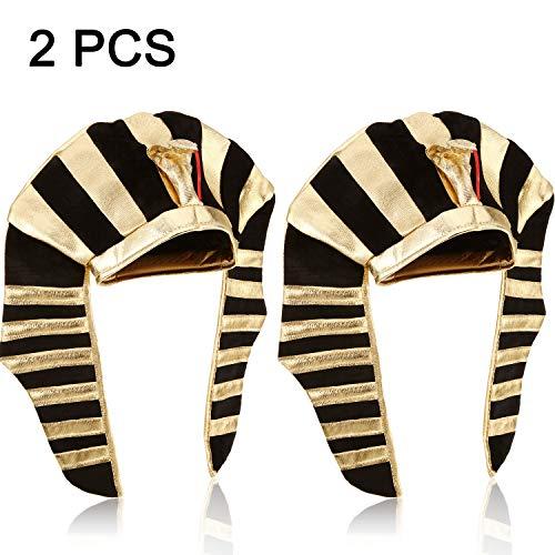 2 Packungen Pharao Hut Ägyptischer Pharao König Kopfschmuck für Männer und Damen Kostüm Kopfschmuck Kronen Hut Kostüm, Gold und Schwarz