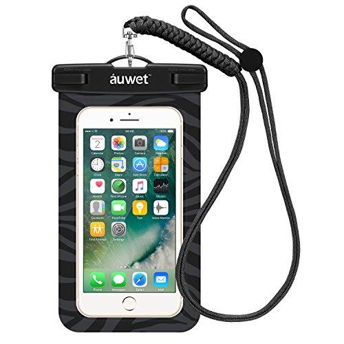 Wasserdichte Hülle, Auwet Wasserdichte Tasche Beutel Handyhülle für iPhone 6s/6/5s/5/plus, Samsung Galaxy S7/ S6/S5, Note 4/3 für Bootfahren/Schwimmen/Tauchen/Angeln (Schwarz) (Blu Pure Xl Handy)