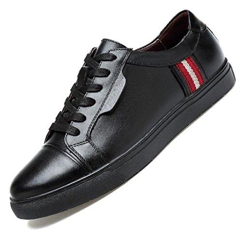 Uomo Spessore inferiore Tempo libero Scarpe di pelle Ballerine traspirante Scarpe casual formatori Taglia larga euro DIMENSIONE 39-48 Black