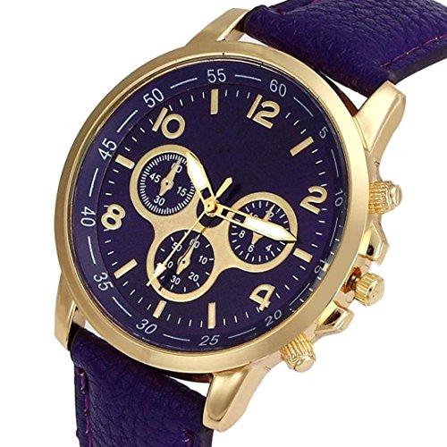 Sonnena Unisex Armbanduhren, Mode Genf Faux Lederband Armbanduhr Damenuhr Herrenuhr Lederband Uhren Wrist watch Analoge Quarz Armband Handgelenk Uhr (Lila)
