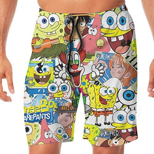 Greatbe Herren Sommer Badehose Spongebob Schwammkopf Beach Board Shorts für Männer/Yonth/Teen/Boy (Teen Boy Shorts)