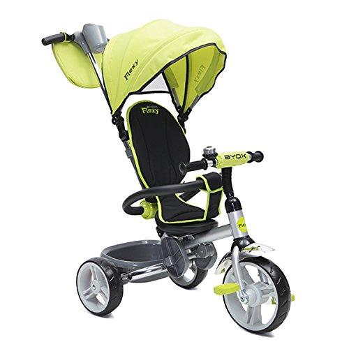 Preisvergleich Produktbild Tricycle Flexy 3 in 1 Dreirad, Lenkstange, Sonnendach, Korb, klappbar (Grün)
