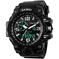 Unitedeal Brand Men's Waterproof Dual Time Chronograph Multi Functional Outdoor Sports Rubber Wrist Watch Black
