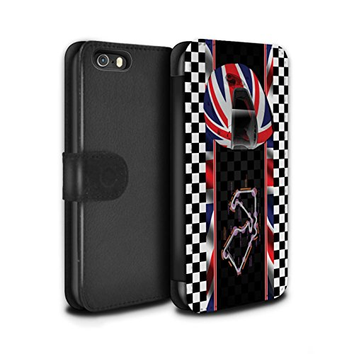 Stuff4 Coque/Etui/Housse Cuir PU Case/Cover pour Apple iPhone 5/5S / UK/Silverstone Design / F1 Piste Drapeau Collection UK/Silverstone