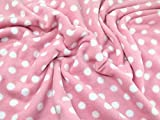Spotty Print Anti-Pille Polar Fleece Stoff Pale Pink &