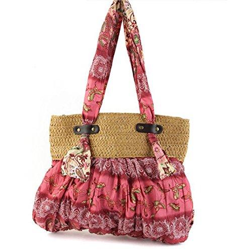 Schulter Stroh Böhmen Tasche Handtaschen Farbe Blumen gewebt Frauen Stricken Freizeit Reise Sommer Strand Tote Pink