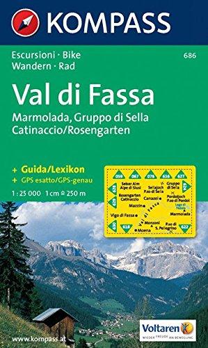 Carta escursionistica n. 686. Trentino, Veneto. Val di Fassa, Marmolada, Gruppo di Sella 1:25.000. Adatto a GPS. Digital map. DVD-ROM