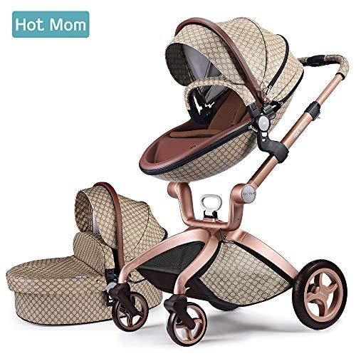 Hot Mom 3-1 Kombikinderwagen F22 mit Buggyaufsatz und Babywanne 2019 neues Design, Babyschale separat erhältlich