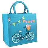 Shared Earth Sac de jute issu du commerce équitable Sac de shopping - Turquoise - Motif bicyclettes, Medium