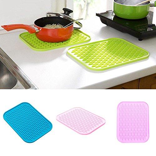 Candy Farbe Silikon Pad Wasserdicht Schüssel hitzebeständig Topf Matte Pad für Küche Kochen Tools, rosa (Für Hitze-matte Glätteisen)