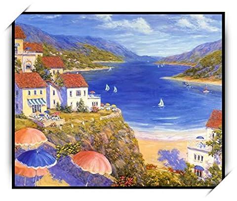 Haehne Modern Bord de la mer Toiles en coton Impression Oeuvres Peintures à l'huile Photo Imprimé sur toile Art mural pour les décorations maison à la chamber, 70 *50cm(27 *20Inch), Avec cadre