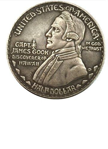 Bespoke Souvenirs Seltene Antike USA USA 1928 Jahr James Cook, tolle Silberfarbene Halbdollar-Münze -