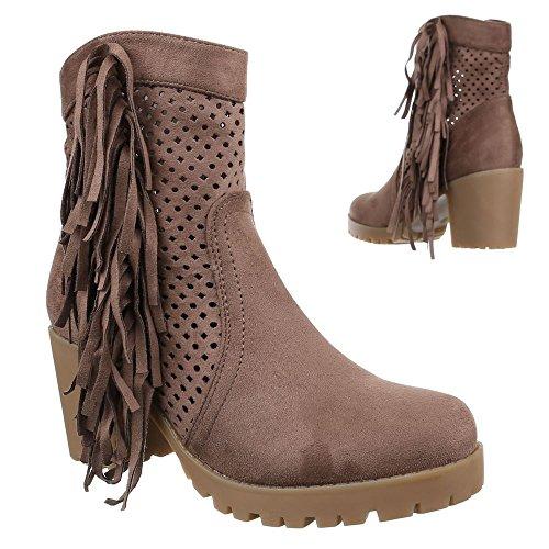Damen Schuhe, 51112-PG, STIEFELETTEN PERFORIERTE WESTERN LOOK COWBOY STIEFEL BLOCKABSATZ Hellbraun