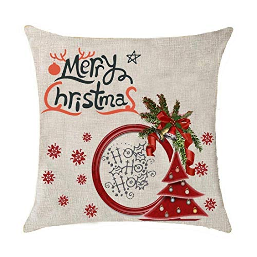 FPDecor Dekorativ Kissenbezug, Merry Christmas Red Santa Delivering Gifts Christmas Tree Bells Snowflakes Deer Cotton Linen Throw Pillow Covers Case Cushion Cover Sofa Decorative Square 18 x 18 inch