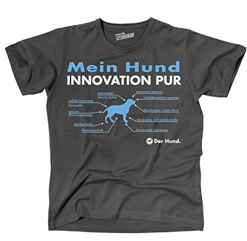 Siviwonder Unisex T-Shirt INNOVATION HUND TEILE LISTE Hunde lustig fun Dark Grey