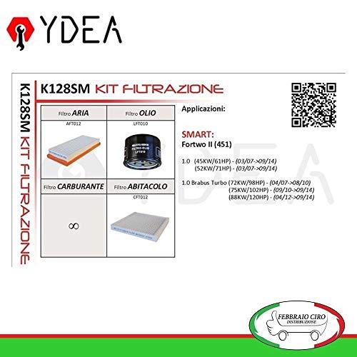 Kit Tagliando Filtri Filtrazione per Fortwo II (451) 1.0 1.0 Brabus Turbo 07>14 - Ydea K128SM