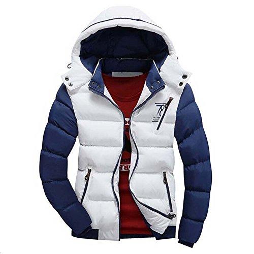 Highdas Hommes Veste Coton Chaud Manteau Capuchon Outwear Thicking Parka Manteaux Blanc