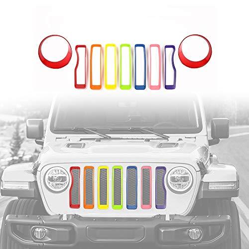 L&U Inserto griglia griglia e Faro Faro Disabilita Copertura Faro per 2018+ Jeep Wrangler JL (Confezione da 9),RainbowandRed