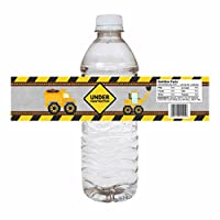 Under Construction Water Bottle Labels - Kids Dump Truck Birthday Party Drink Stickers - Set of 12