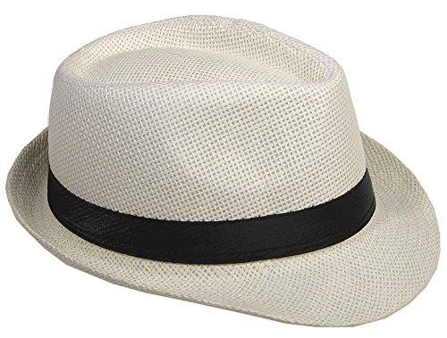 Strohhut Panama Fedora Trilby Gangster Hut Sonnenhut mit Stoffband Street Style (60, Champagner (Strohhut)) Hut Größen