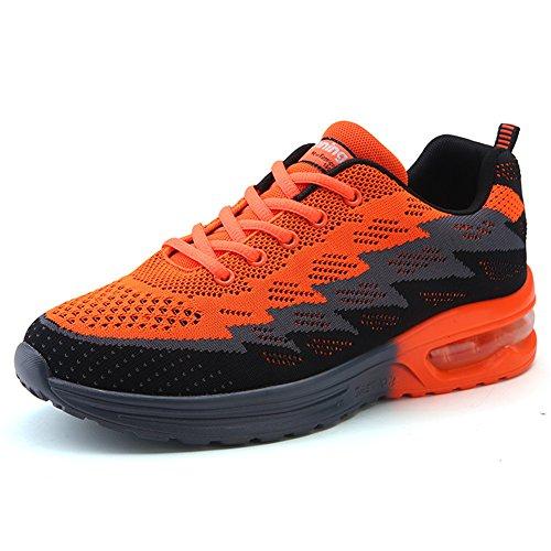 MIMIYAYA Unisex Herren Damen Sportschuhe Laufschuhe Bequeme Air Laufschuhe Schnürer Running Shoes Mode und Freizeit ORANGE41