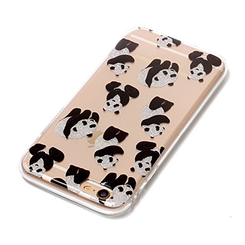 Coque iPhone 6 Plus , E-Lush Apple iPhone 6 Plus Etui TPU Vague Motif Mode Etui Housse Ultra Mince Bumper Housse Clear Silicone Gel Souple Flexible Premium TPU Coque Cover Case Anti-Rayures, Anti-Choc Panda