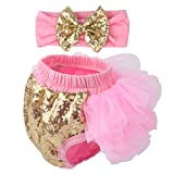 Slowera Baby Girls 2PCS Sets Cotton Tulle Sequins Bloomers and Headband