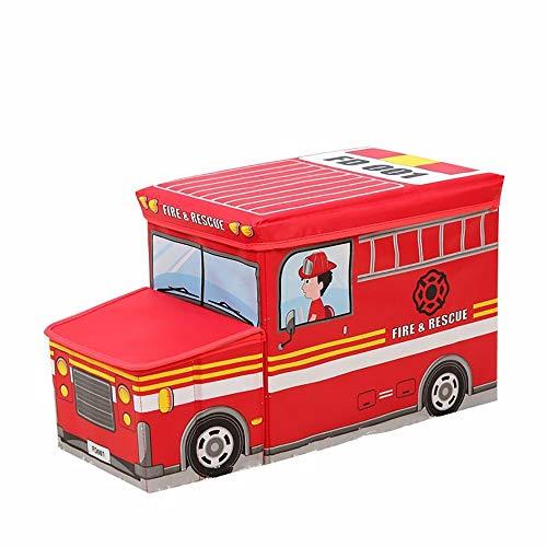 S&RL Leiter-Hocker-Aufbewahrungs-Nichtgewebter Speicher-Hocker/Aufbewahrungskastenstuhl/Karikatur, die die Falten Falten Kann, Sitzen Leute Stabile und Bequeme 35L Überzogen, Red Fire Truck, (Speicher-cube Sitz)