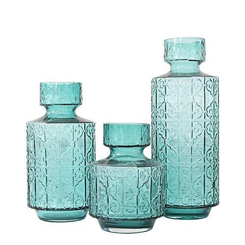 RENYAYA Kreatives, Geprägtes Glas Hydroponischen Madrid Vase, Stylisches Haus Swing-Blue,M Madrid Vase