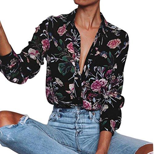 DOLDOA Frauen Langarm V-Ausschnitt Blumen gedruckt Casual Bluse Tops (Größe: 42 Fehlschlag: 96cm / 37.7