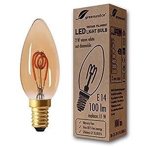 10 lampadine a filamento LED greenandco® Vintage E14 2W (equivalente a 11W) 100lm 2000K (bianco caldo) 360° 230V AC Vetro, non dimmerabile