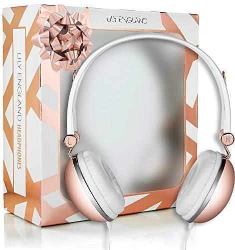 Lily England Kopfhörer in Roségold - Grössenverstellbare Headphones mit Mikrofon, Musik- und Lautstärkeregler - Stylische Kopfhörer mit Freisprechfunktion - Kompatibel mit den Meisten Mobiltelefonen