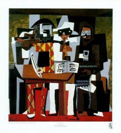 Gerahmtes Bild, Aluminium schwarz glänzend, Folie, Pablo Picasso, Three Musicians - 43x57cm - Turbo-Versand - Premiumqualität - MADE IN GERMANY - ART-GALERIE-SHOPde