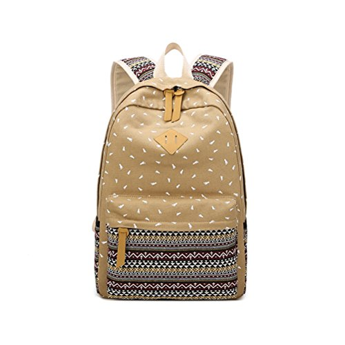 Winnerbag Casual Fuß Muster drucken Nationale Leinwand Schule Rucksack Frauen Preppy Style Travel College Bag Lady Khaki 14 Zoll (20-fuß-handy-ladegerät)