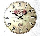 Nostalgie Blech Uhr Wanduhr Motiv Rosen Durchmesser 33,5cm Shabby Chic Landhaus 003