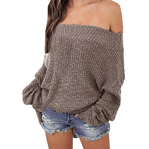 Ronamick Frauen Oversized Strick Pullover Lose Schulterfreier Pullover (Khaki, L) - Mode Khaki Baumwolle Mischung