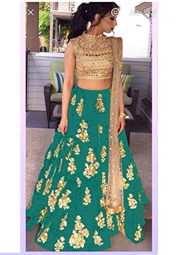 Ustaad women's Banglori silk green Color Lehenga Choli