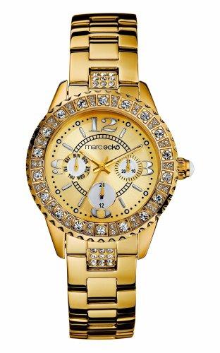 Marc Ecko E13536L1 - Reloj analógico de mujer de cuarzo con correa de acero inoxidable dorada - sumergible a 50 metros