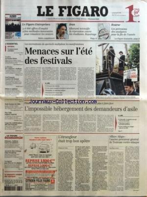 FIGARO (LE) [No 18317] du 30/06/2003 - 4000 OFFRES D'EMPLOI - DES METHODES INNOVANTES POUR REMOTIVER LES SENIORS - IRAN - KHATAMI INTENSIFIE LA REPRESSION CONTRE LES ETUDIANTS - BOURSES - LES PREVISIONS DES ANALYSTES POUR LA FIN DE L'ANNEE - UN MOUVEMENT SUICIDAIRE PAR ARMELLE HELIOT - LA TREVE AU PROCHE-ORIENT - LE PS REVE DE CENSURER RAFFARIN - NEUF FRANCAIS EXPULSES DU SENEGAL - MODE HOMME ETE 2004 - MAX GALLO TOUJOURS IMPERIAL - COUPE DES CONFEDERATIONS - ELLE RESTE FRANCAISE