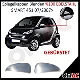 Smart 451 ab Bj.2007 Chrom Spiegelkappen Spiegel Blenden Gebürstet Edelstahl
