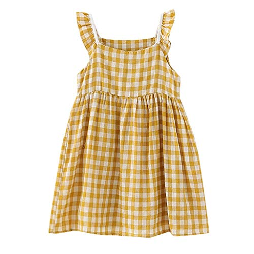Dresses for Girls Pwtchenty 2034 Prinzessin Kleid Baby Party Kleid Mädchen Plaidkleid Print Ärmellose Baumwolle Freizeit ()