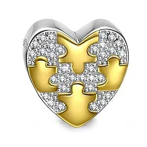 NinaQueen Amore Ciondolo da donna argento sterling 925 per pandora charms bracciale Regalo compleanno natale san valentino festa della mamma Regali anniversario per moglie madre sposa
